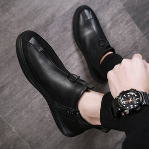 2019 Autumn Early Winter Shoes Men Genuine Leather Boots Fashion Male Shoes Cow Leather Man Ankle Boots Black A1120 t7rS#