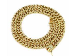 14K позолоченный Hiphop Miami Cuban Curella Mean Bad Diamond Bade Gold Gold Chine ожерелье 30 дюймов