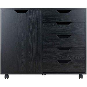 Waco Storage / Organizzazione, Cabinet di archiviazione per ufficio a domicilio 5 Cassetti Plus 2-Scomparto, Armadio per l'armadio in carta Documento file, nero
