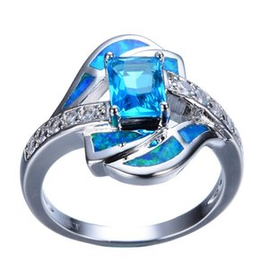 Wholesale Fashion Blue Zircon Band Ladies Geometric Ring for Women Wedding Jewlery C3