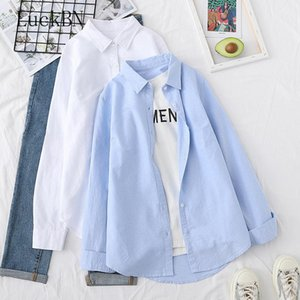 Autumn 2021 New Solid Color Shirt Women's Cotton Long-Sleeved Base Shirt White Korean-Style Cardigan clothing women