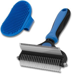 Dog Cat ,2 in 1 Pet Shedding Brush and Dematting Comb for Large Small Dogs Cats' Long & Short Hair Remover
