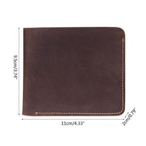 Business Bifold Wallet Men's Genuine Leather Credit Id Card Holder Case Purse Gift New Vintage Male Snap Card qylTyW