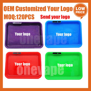 OEM Customed Your LOGO LED Rolling Tray Light Up Serving Tray for Tobacco Dry Herb Grinders Rolling Papers Pk Cookies Backwoods Runtz Tray