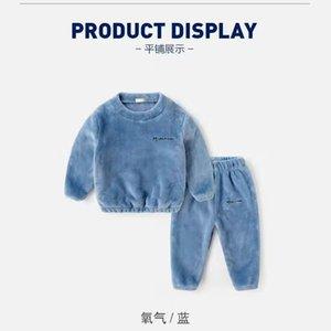 Teenager Flannel Pajamas Kids Toddler Boys Girls PJS Thick Warm Top and Pants Sets Fall Autumn Winter Sleepwear Nightwear 210225