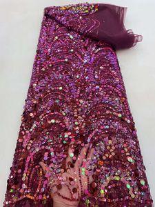 Африканский 2021 высококачественная фиолетовая кружевная ткань с блестками Французский тюль для нигерийской вечеринки