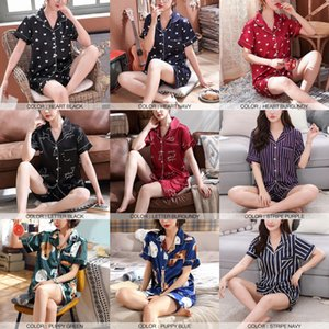 Women Pajamas Sets Satin Pyjamas Nightwear Sleepwear Lingerie Underwear Short Sleeve Printed Striped Sexy Casual Korean SA1033 L0304