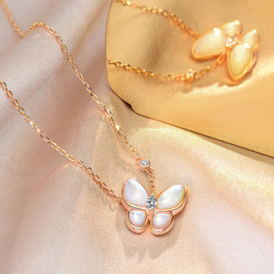 HBP fashion luxury new S925 Silver Butterfly series necklace with white mother shell