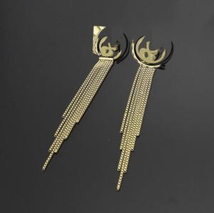 2021 Trendy Edelstahl Silber Rose Gold Überzogene extra lange Quaste Briefkette Baumeln Ohrringe Hochzeit Schmuck Mädchen Frauen Liebe Geschenk