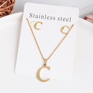 26 Letter Necklaces with Earrings Set Stainless Steel Gold Chokers Initial Pendant Necklaces Women Alphabet Chains Jewelrym 918 Q2