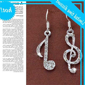 Korean geometric notes music asymmetric with diamond Tassel personalized creativity Fashion earrings female