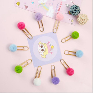 Women Girl Candy color Pom Pom Ball Paper Clips Notes Decoration DIY Bookmark Metal Binder Clips Notes Letter Filing Clip Pins LLS769