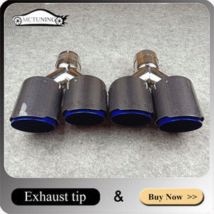 1 Pair Car Glossy Carbon Exhausts Dual Tips For Akrapovic Universal Coated Blue Stainless steel Dual End Muffler Pipes