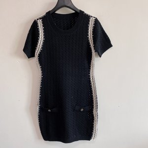 2021 Summer Casual Dresses for Women Luxury Designers Short Sleeve Sweater Skirt Woman Clothes Simple Daily Dress-2
