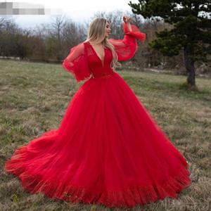 Festival Red Tulle Evening Dresses Deep V Neck Long Sleeves Prom Dress with Applique A Line Bride Vestidos De Novia