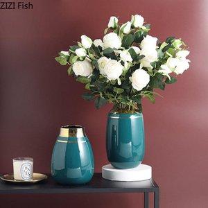 Vase verte Vase en céramique Golden Stripes vitrées Vases de porcelaine décorative Floral Floral Arrangement Artisanat Accueil Décoration Moderne