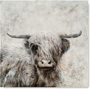Cow Canvas Wall Art Hand Painted Lovely Wild Animal Oil Paintings Highland Cattle Artwork for farmhouse Living Room Bedroom Bathroom Decoration No Frame