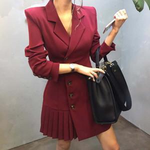 Winter New Style Fashion Suits & Blazers Coat long womens coat dress Long Sleeve outwear elegant pleated coat