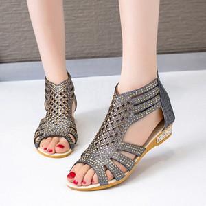 Classic Ladies Sandalias Gladiador Moda Mujeres Hallow Out Shoes Summer Female Female Cremallera Slip en Pisos Wowan Peep Toe Calzado 2020 W2xe #