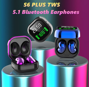 S6 PLUS TWS True Wireless Earphone 8D Stereo 5.1 Bluetooth Earphones Digital Display noise reduction waterproof Earbuds Headset Retail