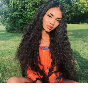 Peruvian Water Wave Lace Front Human Hair Wigs Front Lace Wigs With Baby Hair Pre Plucked Natural Black 150% Density