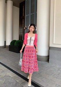 220 2021 Runway Half Skirt Spring Summer Brand Same Style Half Skirt White Pink Womens Clothes Flora Print Fashion Empire yipinhui