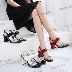 2021 Paris Classics Women Sandals Designer Womens Summer High Heels Sandals Loafers Black White Blue Slides Chaussures Shoes 34-40
