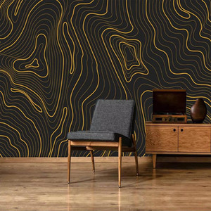 Custom Photo 3D Golden Abstract Striped Lines Modern Art Wall Painting Non-woven Living Room Sofa TV Background Mural Wallpaper