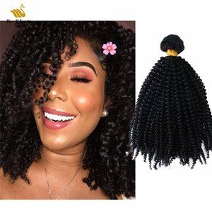 블랙 컬러 아프리카 곱슬 인간의 머리카락 확장 이중 Weft Virgin Hairweaves 2 번들 10-30inch