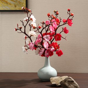 Plum Cherry Blossoms Artificial Silk flowers Plastic Branch for Party Wedding DIY Home Table living room Decor Fake Flowers