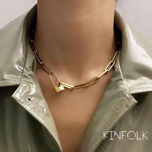 Kinfolk cerradura colgantes punk collares para mujeres color oro color hueco cadena personalidad hembra cuello joyería cuello gótico decoración