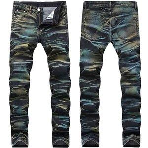 Männer Mode gemalte Denimhose Multi Color Sretch Gedruckte Jeans Hosen für Männer Plus Größe 29-42