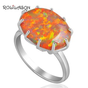 Cluster Rings ROLILASON Chic Style Oval Charming Orange Fire Opal Silver Ring Fashion Jewelry USA Size #6 #7 #8 #9 OR610