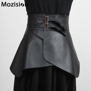 Belts Mozision Ruffle PU Leather Corset Belt Women Solid High Quality Waistband Ladies 2021 Slim Elegant Wide Cummerbunds