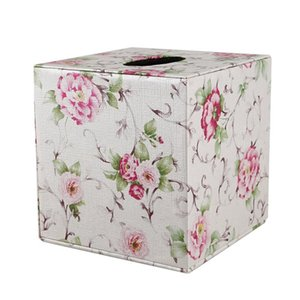 Durable Room Car PU Leather Square Tissue Box Paper Holder Case Cover Napkin
