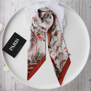 Temperament long versatile women's printed small necktie scarves white collar star belt hair band