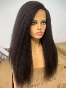 Synthetic Wigs Yaki 180% Density 26 Inch Long Kinky Straight Natural Black Lace Front Wig For Women Daily Cosplay Heat Resistant