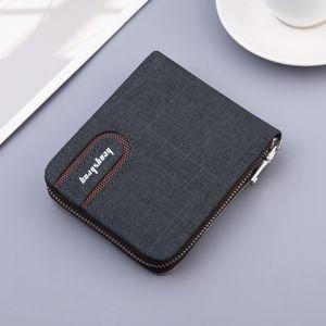 Nuevo billetera de hombre con cremallera de lona con bolsas de bolsillo de bolsillo de monedas para el titular de la tarjeta de mezclilla de monedero de dinero masculino 210311