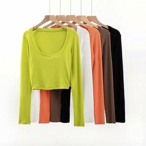 Весна и осень Новый U-образной вырезок обернут нижнюю рубашку женскую тонкую короткую короткую талую талию пупок открытой футболке с длинным рукавом
