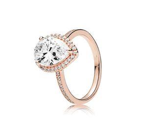 Anello di diamanti del diamante della lacrima della lacrima dell'oro della rosa 18k con la scatola originale per la scatola di nozze dell'argento Pandora 925 Set di gioielli di fidanzamento per le donne