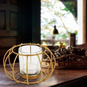 Estilo Nórdico Ferro Ferro Arco Redondo Candle Geometric Candle Candlestick Metal Artesanato Casa Decoração