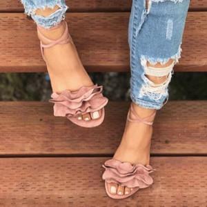 Sandalias de la correa de verano Mujeres de color sólido volantes de punta redonda tacón plano cruzado atado sandalias de roma zapatos rojos F0PQ #