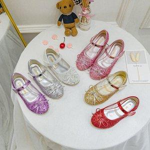 7 цветов снежной королевы принцессы кожаная плоская обувь детские дети девушки блестки платье обувь Кристалл танцует детей бантики обувь Z2541