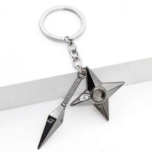 Keychain Kunai Shuriken Dart Weapon Konoha Uzumaki Naruto Black Keyring Key Chain Ring Ninja Anime Jewelry Gift