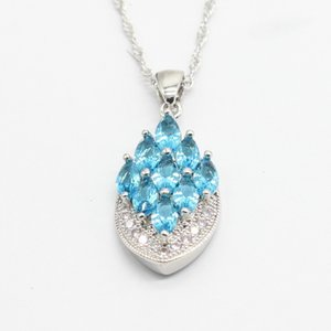 Pendant Black FridayEIOLZJ Necklace Trendy for Silver Women and Girls Blue Crystal White Zircon 925 Stamp Necklaces Free Jewelry Box