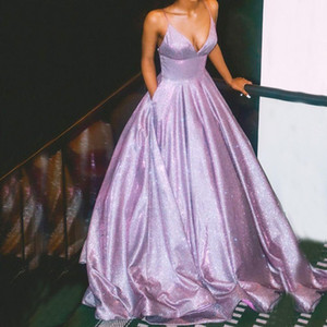 2021 Shiny Purple Prom Dress Long Glitter A-line Lovely Party Dress Girl Sparkle Elegant Straps Backless Evening Dress Pocket