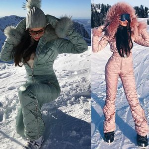 2021 Ski Set Jumpsuit Hooded Women Overalls Outdoor Sports Snowboard Jacket One-Piece Ski Suit Warm Waterproof Winter Clothing