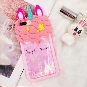 3D Cartoon Pink Quicksand Unicorn Soft Silicone Liquid Stars Case for Iphone 12 11 pro 8 Plus 7 6S 6 plus 5 XS Max XR X Phone Case