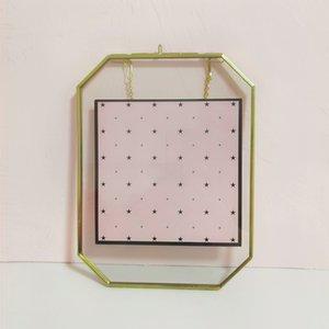 Gold hängende schwimmende Bilderrahmen Geometrische Messing doppelseitige Glasrahmen für gepresste Blumen Herbarium Getrocknete Blatt Artwork-Anlagen