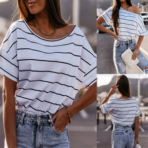2021 summer women's new round neck Short Sleeve Striped T-shirt 88621